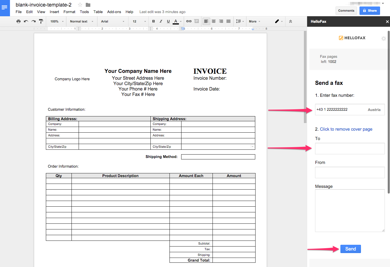 how do i fax a google doc using the hellofax for google docs add, Invoice templates